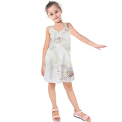 Orchids Flowers White Background Kids  Sleeveless Dress