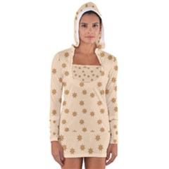Pattern Gingerbread Star Women s Long Sleeve Hooded T-shirt