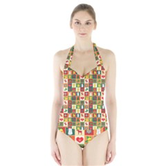 Pattern Christmas Patterns Halter Swimsuit by Amaryn4rt