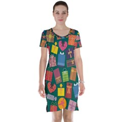 Presents Gifts Background Colorful Short Sleeve Nightdress