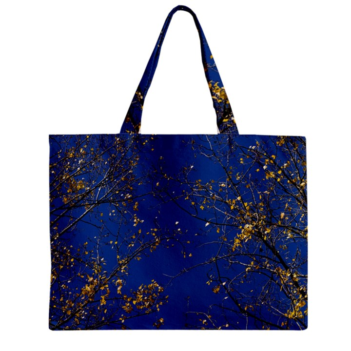 Poplar Foliage Yellow Sky Blue Zipper Mini Tote Bag