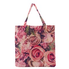 Beautiful Pink Roses Grocery Tote Bag by Brittlevirginclothing