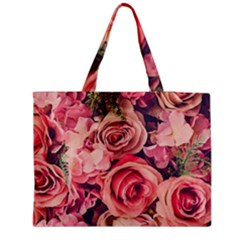 Beautiful Pink Roses Medium Zipper Tote Bag by Brittlevirginclothing
