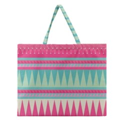 Gorgeous Colorful Pink Bohemian  Zipper Large Tote Bag by Brittlevirginclothing