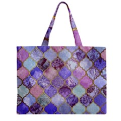 Blue Toned Moroccan Mosaic  Zipper Mini Tote Bag by Brittlevirginclothing