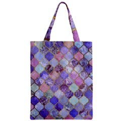 Blue Toned Moroccan Mosaic  Zipper Classic Tote Bag by Brittlevirginclothing