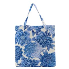 Blue Toned Flowers Grocery Tote Bag by Brittlevirginclothing