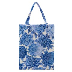 Blue Toned Flowers Classic Tote Bag by Brittlevirginclothing