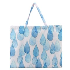Cute Blue Rain Drops Zipper Large Tote Bag by Brittlevirginclothing