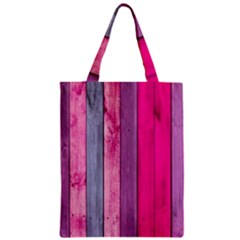 Pink Colored Wood Zipper Classic Tote Bag