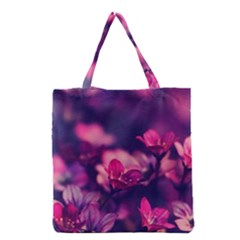 Blurry Violet Flowers Grocery Tote Bag by Brittlevirginclothing