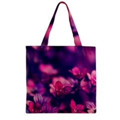 Blurry Violet Flowers Zipper Grocery Tote Bag by Brittlevirginclothing