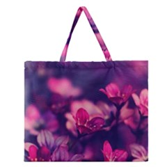 Blurry Violet Flowers Zipper Large Tote Bag by Brittlevirginclothing