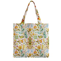 Cute Small Colorful Flower  Zipper Grocery Tote Bag by Brittlevirginclothing