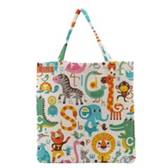 Lovely Small Cartoon Animals Grocery Tote Bag by Brittlevirginclothing