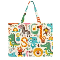 Lovely Small Cartoon Animals Zipper Large Tote Bag by Brittlevirginclothing