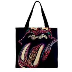 The Rolling Stones Glowing Logo Zipper Grocery Tote Bag by Brittlevirginclothing