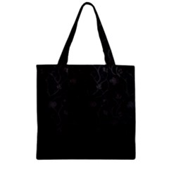 Dark Silevered Flowers Pattern Zipper Grocery Tote Bag by Brittlevirginclothing