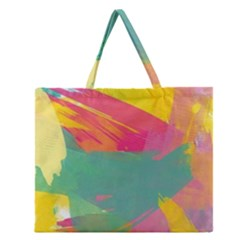 Colorful Paint Brush  Zipper Large Tote Bag by Brittlevirginclothing