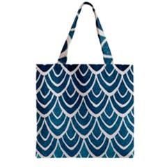 Blue Fish Scales  Grocery Tote Bag by Brittlevirginclothing