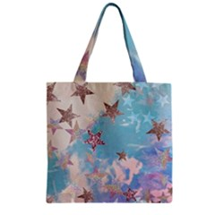 Pastel Colored Stars  Zipper Grocery Tote Bag by Brittlevirginclothing