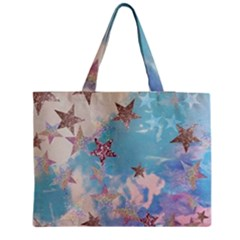 Pastel Colored Stars  Medium Zipper Tote Bag by Brittlevirginclothing