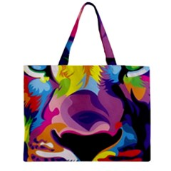 Colorful Lion s Face  Medium Zipper Tote Bag by Brittlevirginclothing
