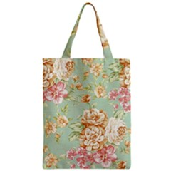 Vintage Pastel Flowers Zipper Classic Tote Bag by Brittlevirginclothing