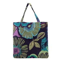 Lila Toned Flowers Grocery Tote Bag by Brittlevirginclothing