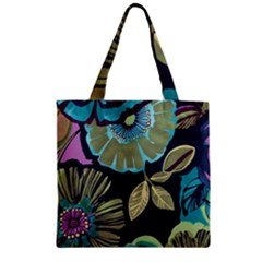 Lila Toned Flowers Zipper Grocery Tote Bag by Brittlevirginclothing
