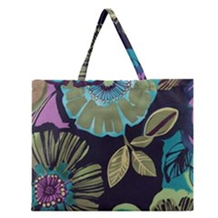 Lila Toned Flowers Zipper Large Tote Bag by Brittlevirginclothing