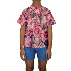 Beautiful Pink Roses  Kids  Short Sleeve Swimwear by Brittlevirginclothing