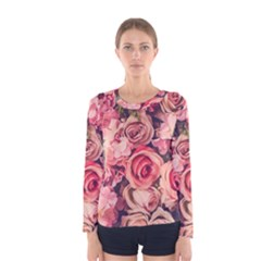 Beautiful Pink Roses  Women s Long Sleeve Tee by Brittlevirginclothing