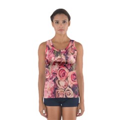 Beautiful Pink Roses  Women s Sport Tank Top  by Brittlevirginclothing