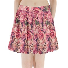 Beautiful Pink Roses  Pleated Mini Skirt by Brittlevirginclothing