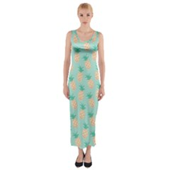 Cute Pineapple Fitted Maxi Dress by Brittlevirginclothing