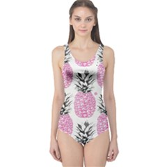 Cute Pink Pineapple  One Piece Swimsuit by Brittlevirginclothing