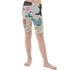 Cute Cartoon Animals Kids  Mid Length Swim Shorts by Brittlevirginclothing