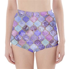 Blue Moroccan Mosaic High-waisted Bikini Bottoms by Brittlevirginclothing