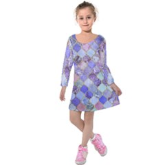 Blue Moroccan Mosaic Kids  Long Sleeve Velvet Dress by Brittlevirginclothing