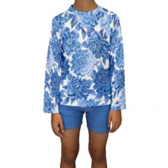 Blue Flowers Kids  Long Sleeve Swimwear by Brittlevirginclothing
