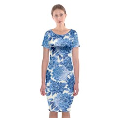 Blue Flowers Classic Short Sleeve Midi Dress by Brittlevirginclothing