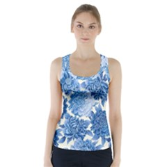Blue Flowers Racer Back Sports Top by Brittlevirginclothing