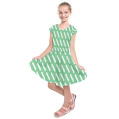 Green White Desktop Kids  Short Sleeve Dress