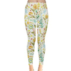 Pastel Flowers Leggings  by Brittlevirginclothing