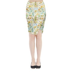 Pastel Flowers Midi Wrap Pencil Skirt by Brittlevirginclothing
