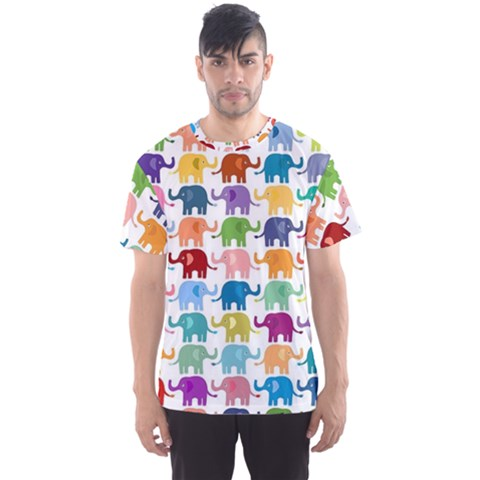Colorful Small Elephants Men s Sport Mesh Tee by Brittlevirginclothing