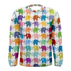 Colorful Small Elephants Men s Long Sleeve Tee by Brittlevirginclothing