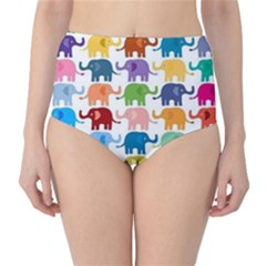 Colorful Small Elephants High-waist Bikini Bottoms by Brittlevirginclothing