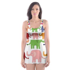 Colorful Small Elephants Skater Dress Swimsuit by Brittlevirginclothing